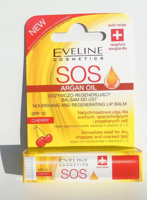 Dziś o pielęgnacji ust słów kilka - część 2, czyli odżywczo-regenerujący balsam do ust SOS Argan Oil od Eveline - recenzja