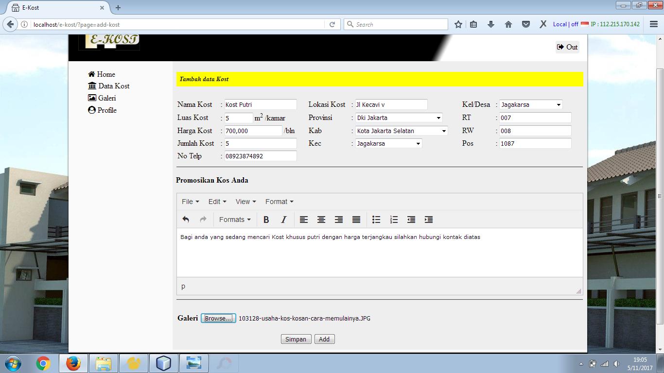 Aplikasi Informasi Sewa Kost (E-Kost) dengan PHP dan MySQL