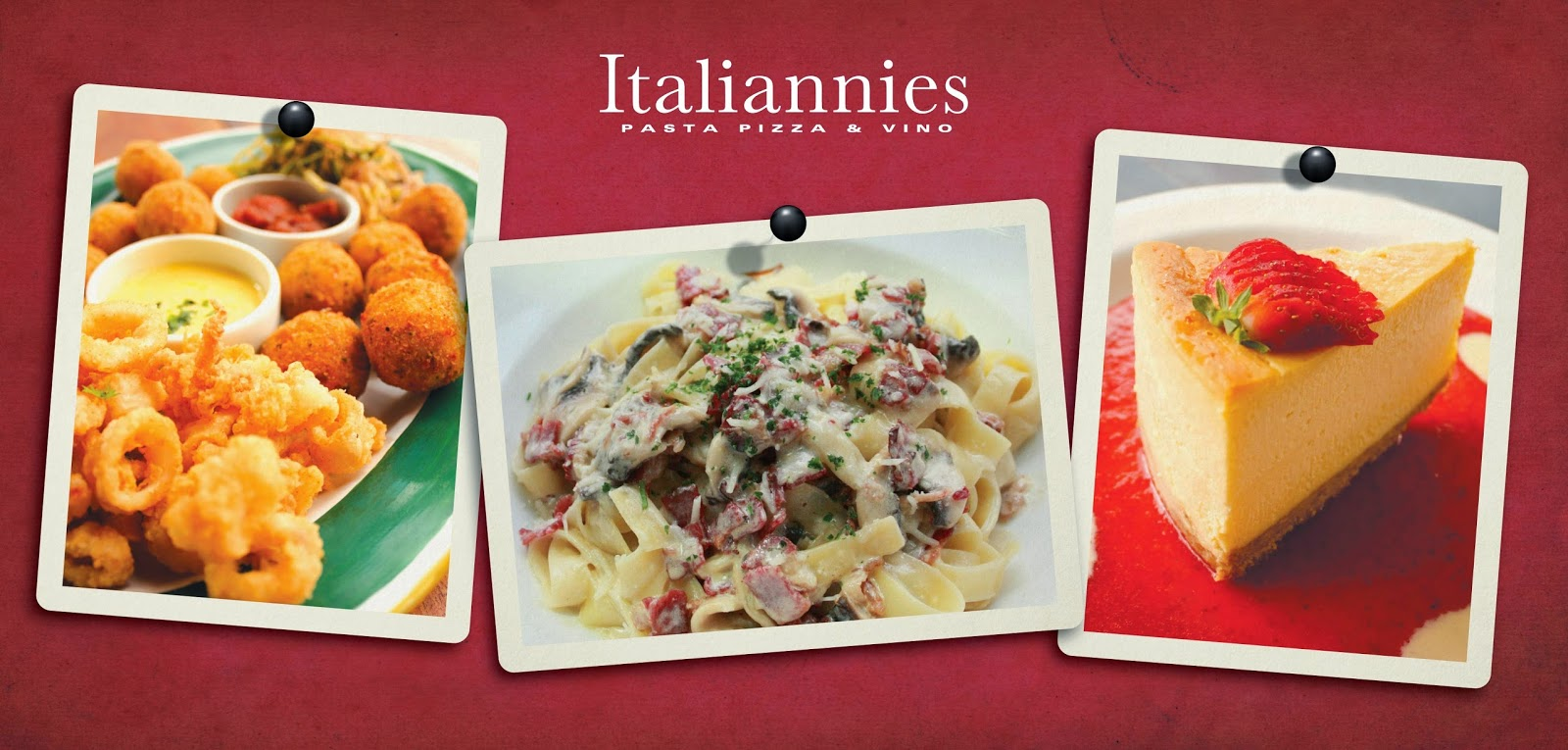 Quattro Platter,Classic Carbonara and NY Strawberry Cheesecake- Italiannies Sundown Buffet
