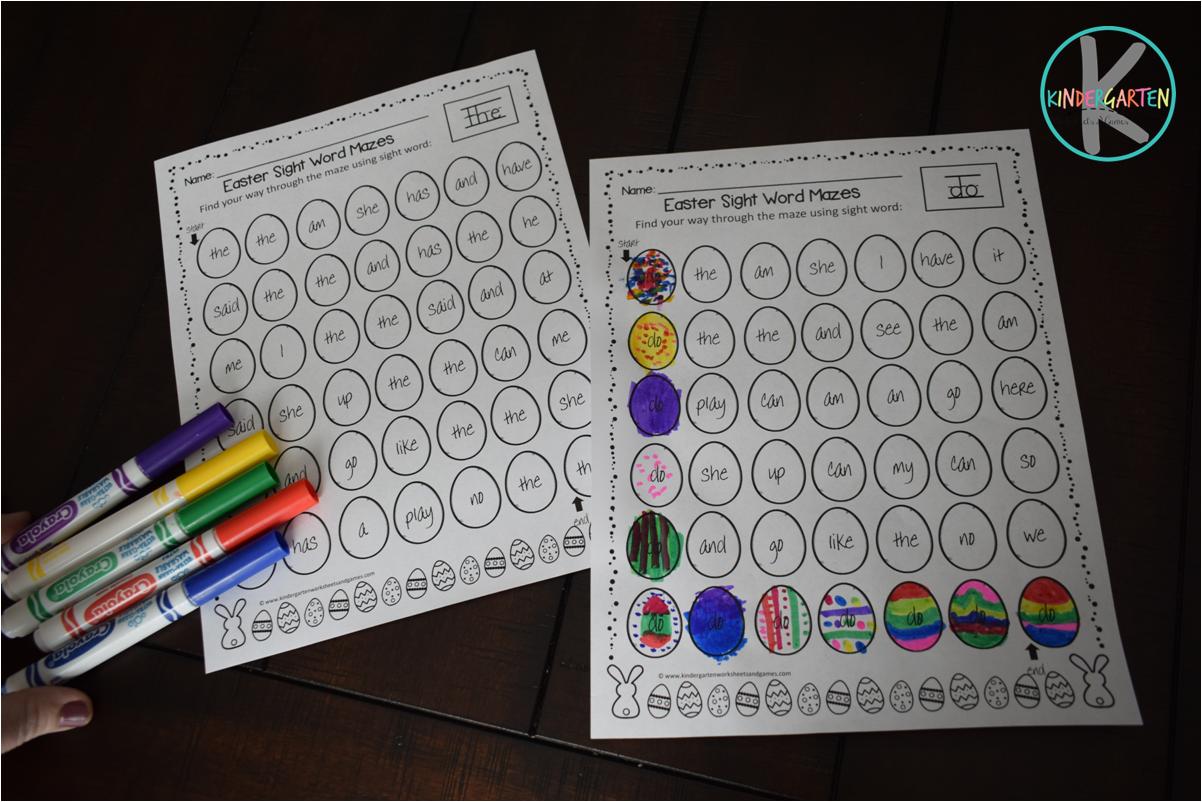 Kindergarten Worksheets And Games Free Easter Sight Word