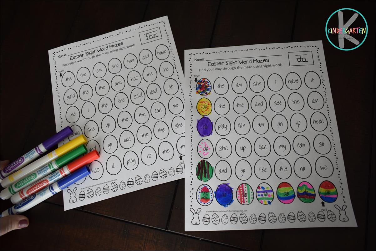 Kindergarten Worksheets And Games Free Easter Sight Word