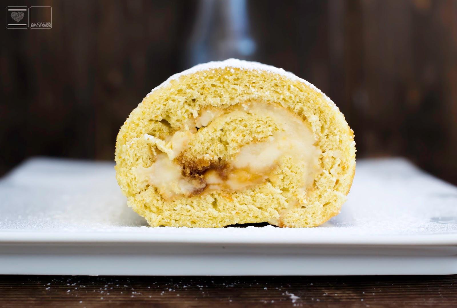 Rulo relleno de crema pastelera y azúcar tostada