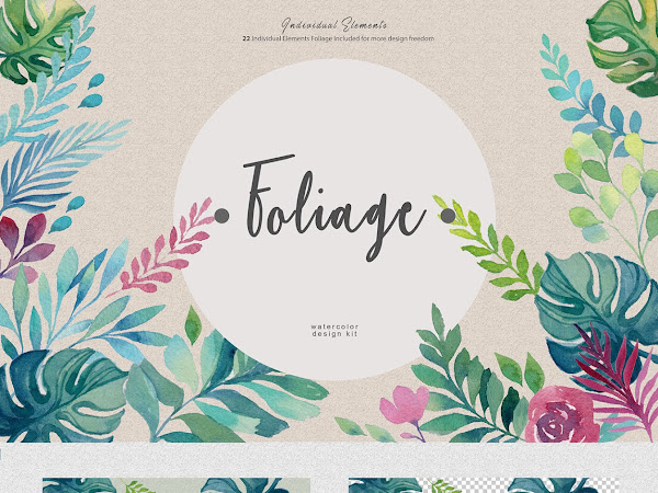Download Foliage Watercolor Design Kit Free