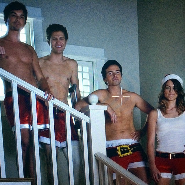 PLL Caleb, Toby, Ezra and Paige in Santa Boxers