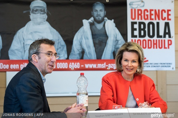 Stephan Goetghebuer, Queen Mathilde of Belgium attend a round table discussion organized by Medecins Sans Frontiere regarding medical and humanitarian needs worldwide, and the Ebola-epidemic