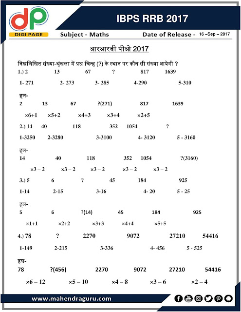 DP   Questions Asked In RRB 2017   16 - September - 17