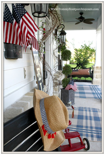 Patriotic Home Decor-4th of July-Blue Porch Ceiling-Plaind Rugs- Front Porch-From My Front Porch To Yours