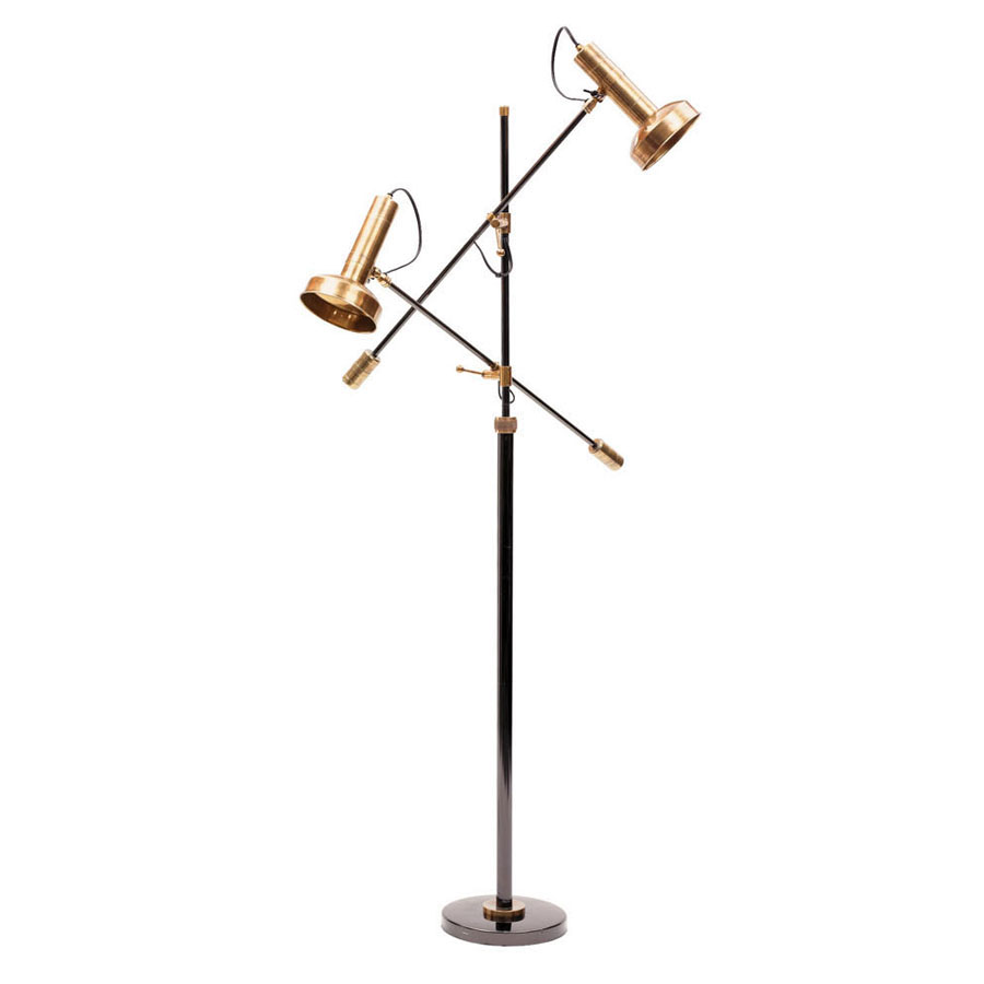 Modern Reading Floor Lamp with Brass Shades | Mid-Century ...