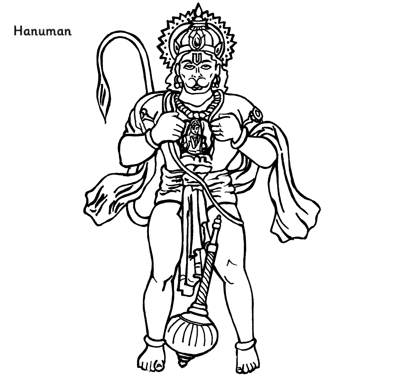 Colour Drawing Free HD Wallpapers: Lord Hanuman Coloring