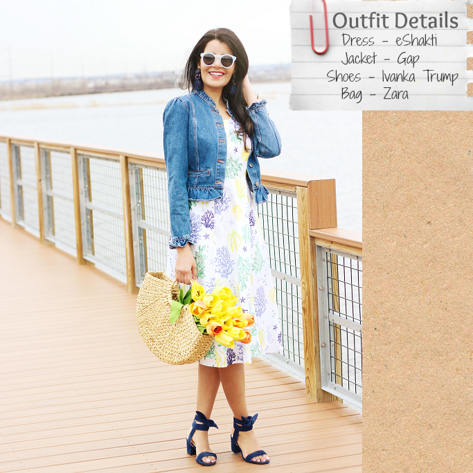 eShakti cotton dress, fit and flare dress for Spring, Ivanka Trump Edline sandals, How to wear denim jacket with dresses, Gap ruffle denim jacket, ruffle sleeve jacket, Zara straw bag, flowers in a bag photo style