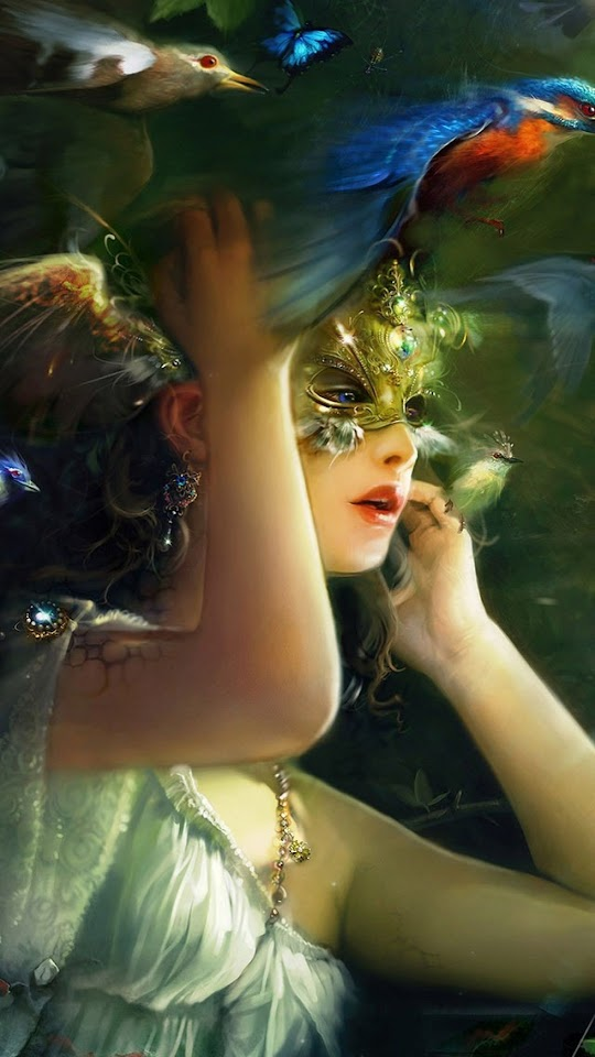 Fantasy Girl With Gold Mask   Galaxy Note HD Wallpaper