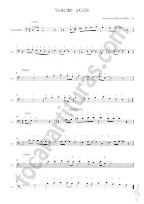 2 Partitura de Yesterday Violonchelo de (más partituras  aquí) & Vídeo tutorial Como tocar Amazing Grace en Violonchelo