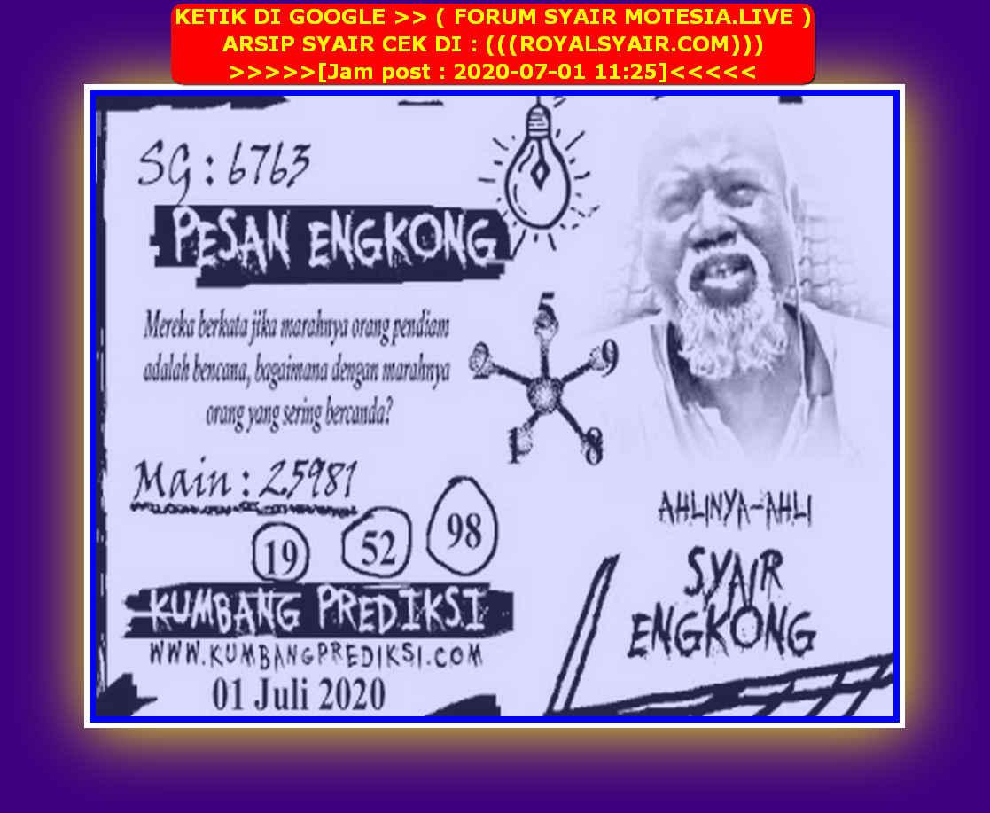 Kode syair Singapore Rabu 1 Juli 2020 73