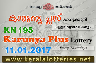 Kerala Lottery Results  11-Jan-2018 Karunya Plus KN-195 www.keralalotteries.net