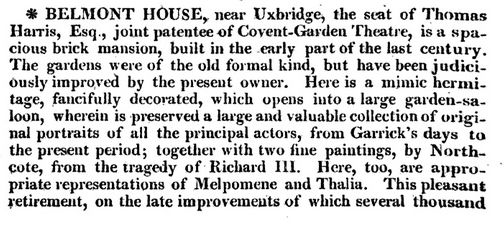 description de Belmont House 1820