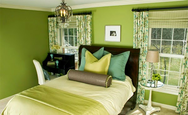 dormitorio verde lima