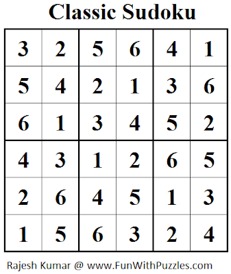Classic Sudoku (Mini Sudoku Series #29) Solution
