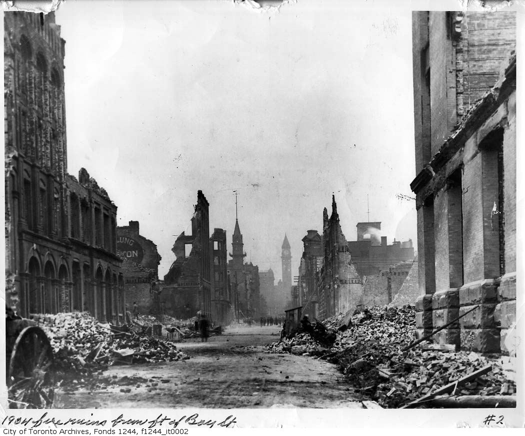 Toronto Fire devastation: Looking north from the foot of Bay St.