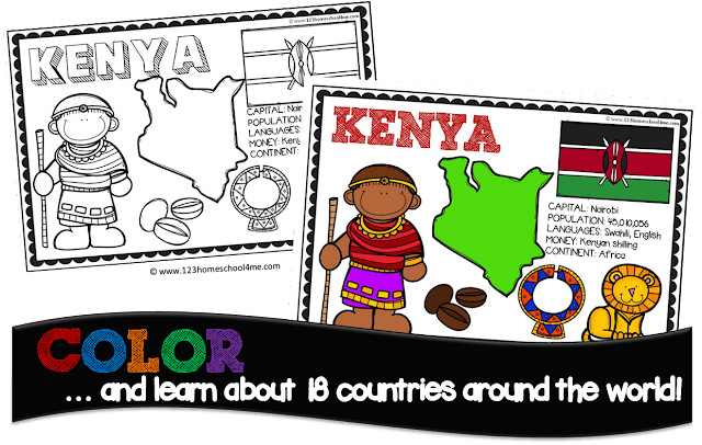 Countries coloring book for kids from prek, kindergarten, 1st grade, 2nd grdae, 3rd grade to learn about geography