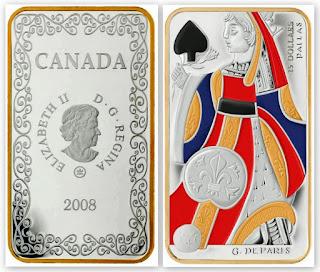 Монета: Дама пик. 15 долларов, 2008, Канада.