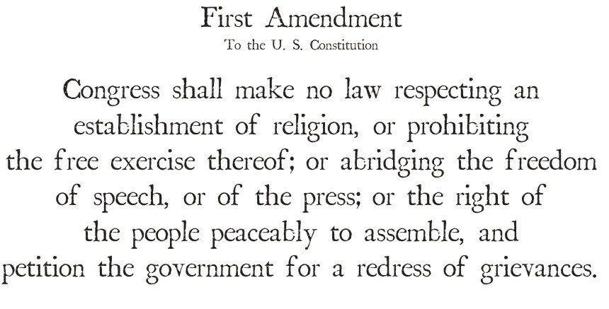The guarantee of the freedom of religion and speech in the united states constitution