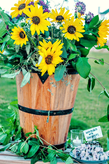 Sunflower centerpiece, Summer lake party