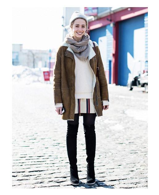 Многослойный комплект платье + свитер + дубленка + шарф