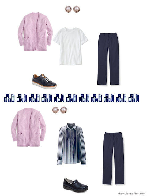2 ways to wear pink with navy and white from a travel capsule wardrobe