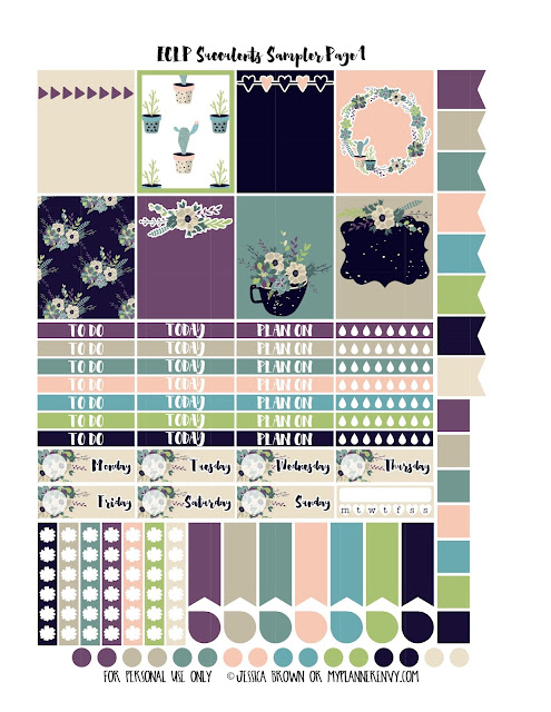 Free Printable Succulents Sampler Page 1 for the Vertical Erin Condren and Recollections Creative Year Planners from myplannerenvy.com