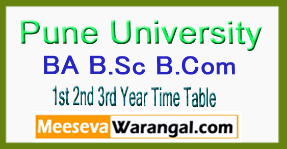 Pune University BA B.Sc B.Com 1st 2nd 3rd Year Time Table Oct Nov 2017