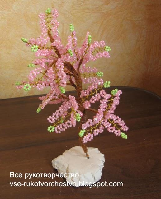 Дерево сакура из бисера. Мастер-класс с пошаговым фото