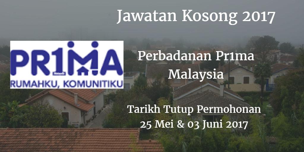 Jawatan Kosong Perbadanan Pr1ma Malaysia 25 Mei & 03 Juni 2017