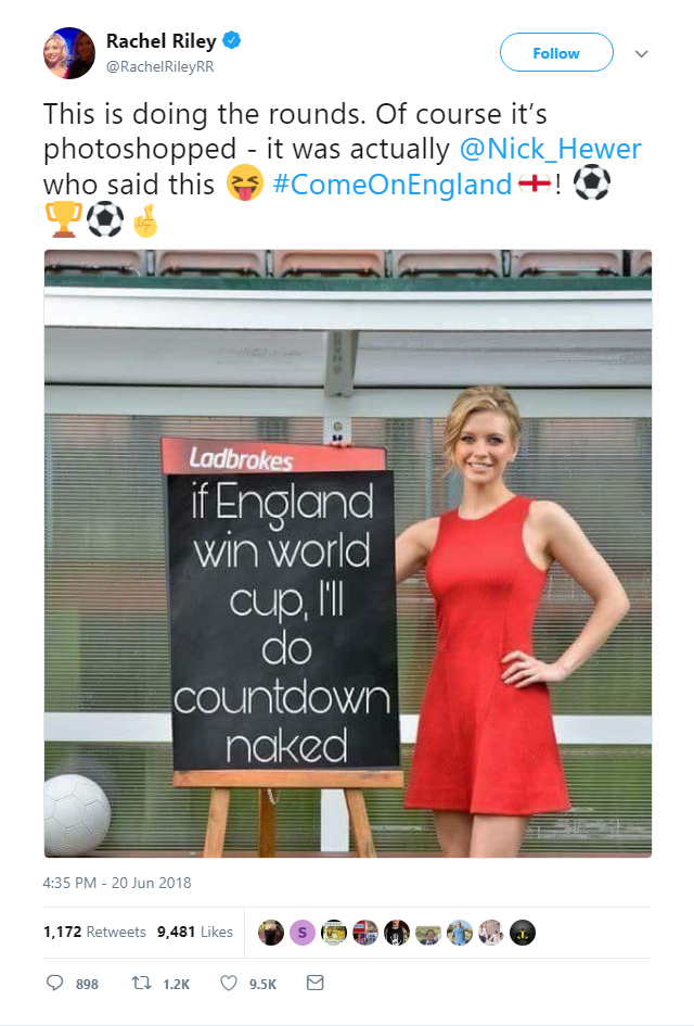 This Photoshopped picture of Rachel Riley has been making the rounds on Twitter