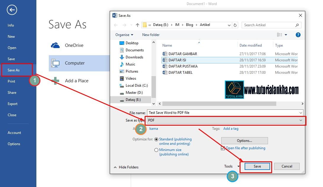 Cara mudah merubah file ms word 2013 menjadi file PDF