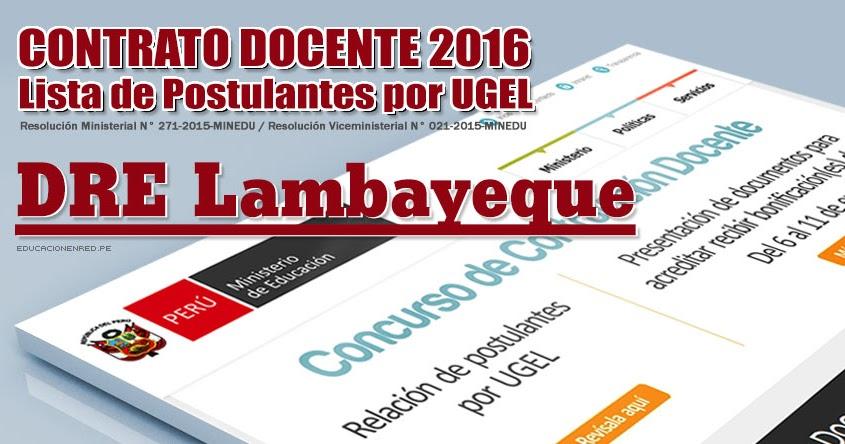 Dre lambayeque lista de postulantes por ugel para plazas for Plazas disponibles concurso docente 2016
