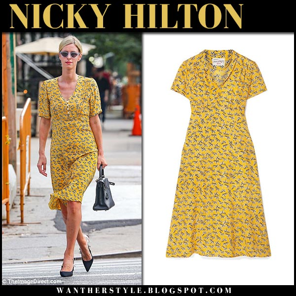 Nicky Hilton in yellow printed dress hvn street fashion september 19