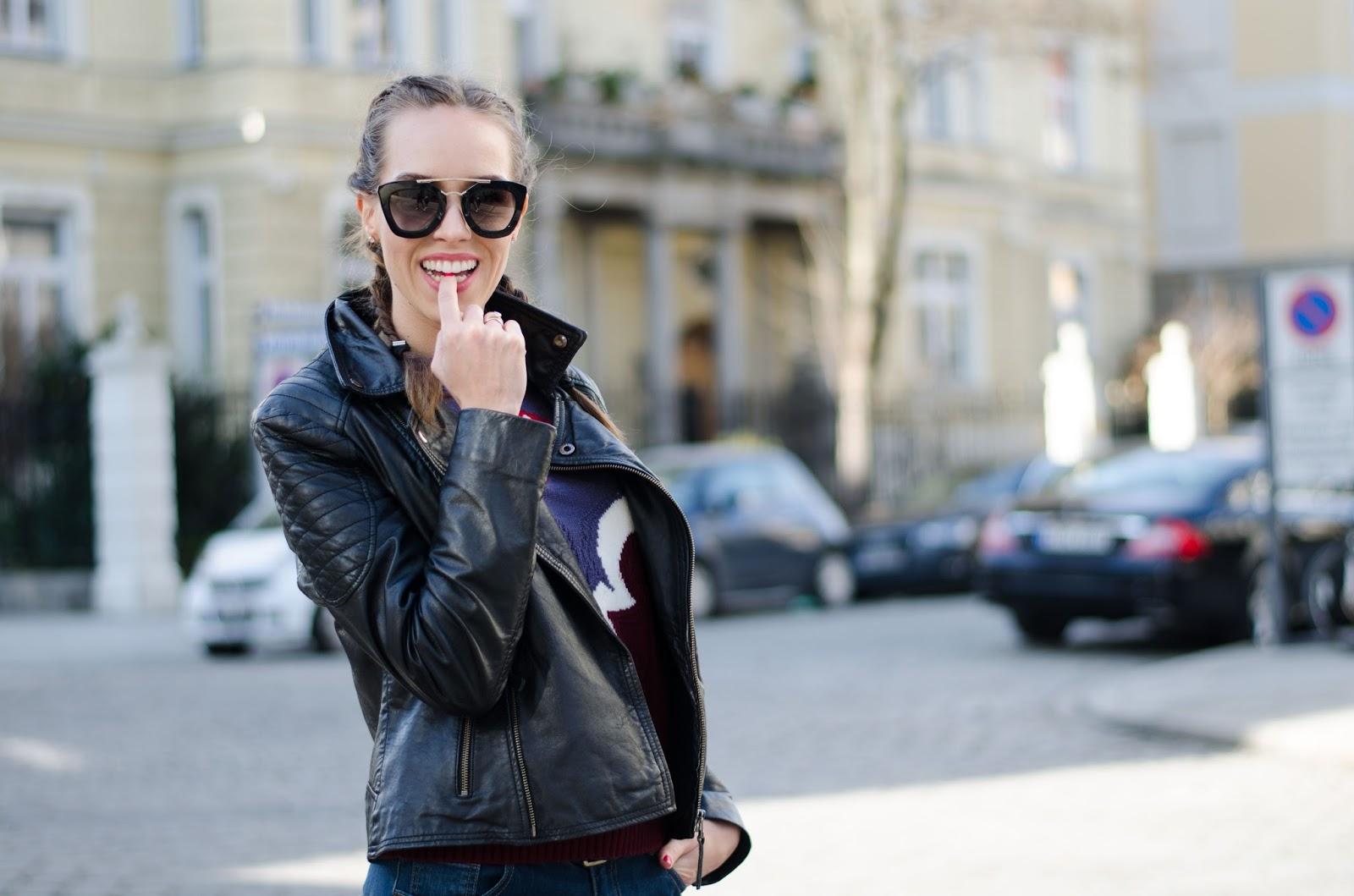 kristjaana mere prada sunglasses barneys leather jacket dutch braids