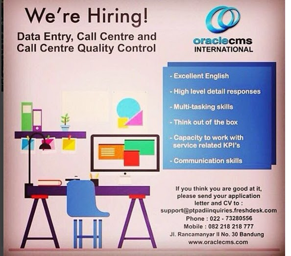 Lowongan Kerja Data Entry, Call Centre and Call Centre Quality Control - Bandung