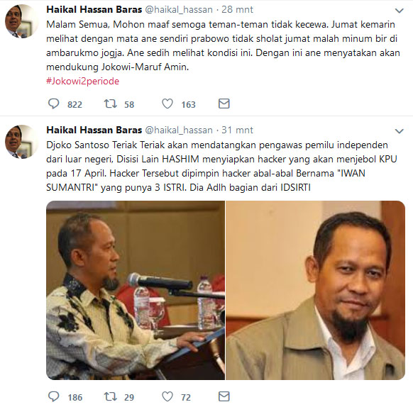 Tiba-Tiba Jelekkan Prabowo dan Dukung Jokowi, Netizen Yakin Akun Twitter Haikal Hassan Dihack