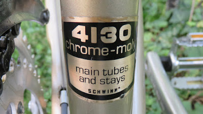 Sticker on bicycle naming the tubing material (Chrome-Moly)