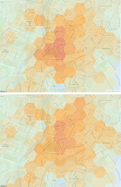 Figura 3: Intensidad de movimiento en transporte público o privado en Valladolid el 29/10/2017. Arriba: 12:00-13:00. Abajo: 13:00-14:00.