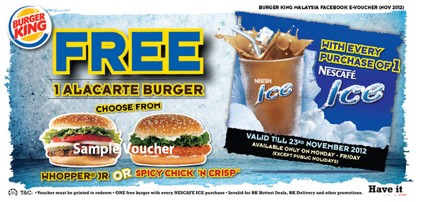 I Love Freebies Malaysia Promotions Burger King Free Ala Carte