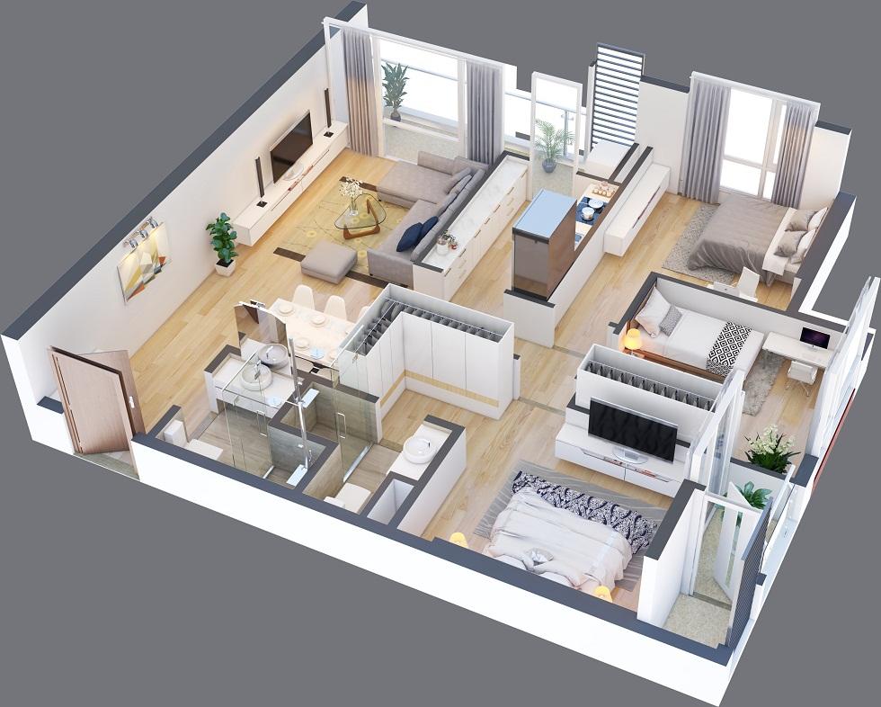 Thiết kế một căn hộ 02 phòng ngủ tại Green Pearl Minh Khai