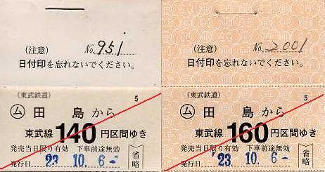 東武鉄道 常備軟券乗車券18 佐野線 田島駅