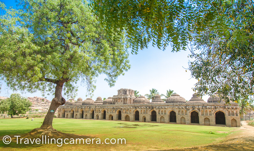 Elephant Stables : This is a huge place where elephants of Vijayavara empire used to take shelter. This place is just close to Zenanan Encosure. To know more about Elephant Stables in Hampi, do check out this link.   Timings of Elephant Stables: 8:30 am to 5:30 pm Entry Ticket Fees for Elephant Stables: 10 Rs for Indians & 250 Rs for foreigners Camera Charges for Elephant Stables : Nil