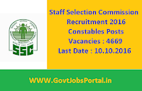 Staff Selection Commission Recruitment 2016 for 4669 Constables Apply Online Here