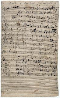"""Manuscrito del inicio del motete """"Singet dem Herrn ein neues Lied, BWV 225"""", de J. S. Bach, compuesto hacia 1727."""