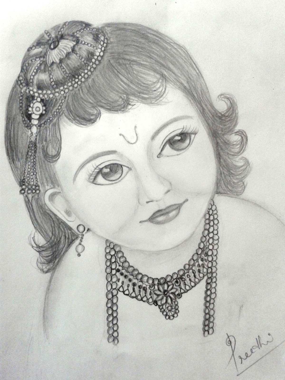 A pencil sketch of little krishna