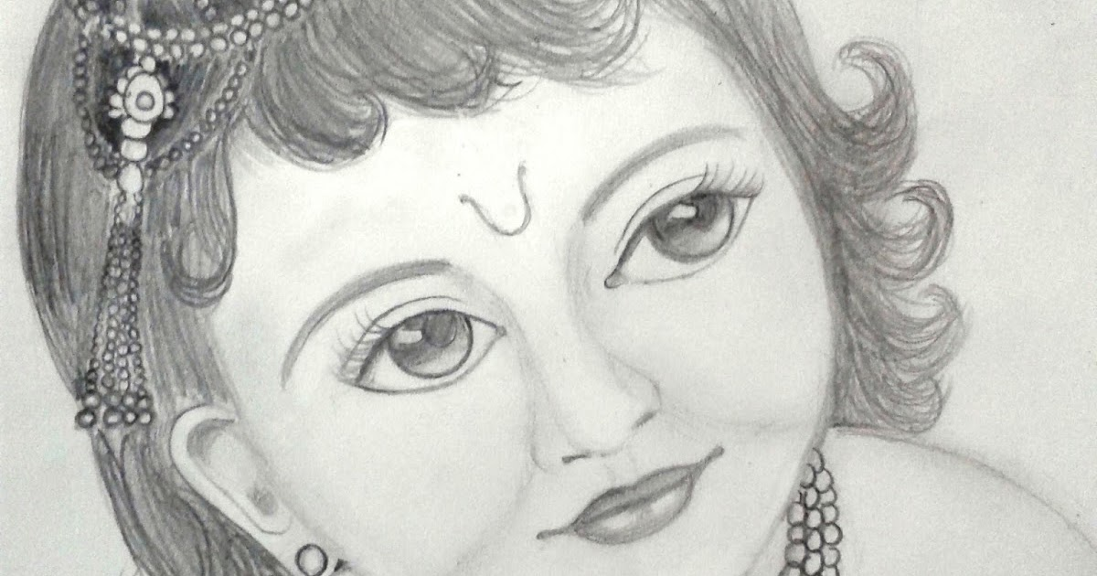 A writers oasis a pencil sketch of little krishna