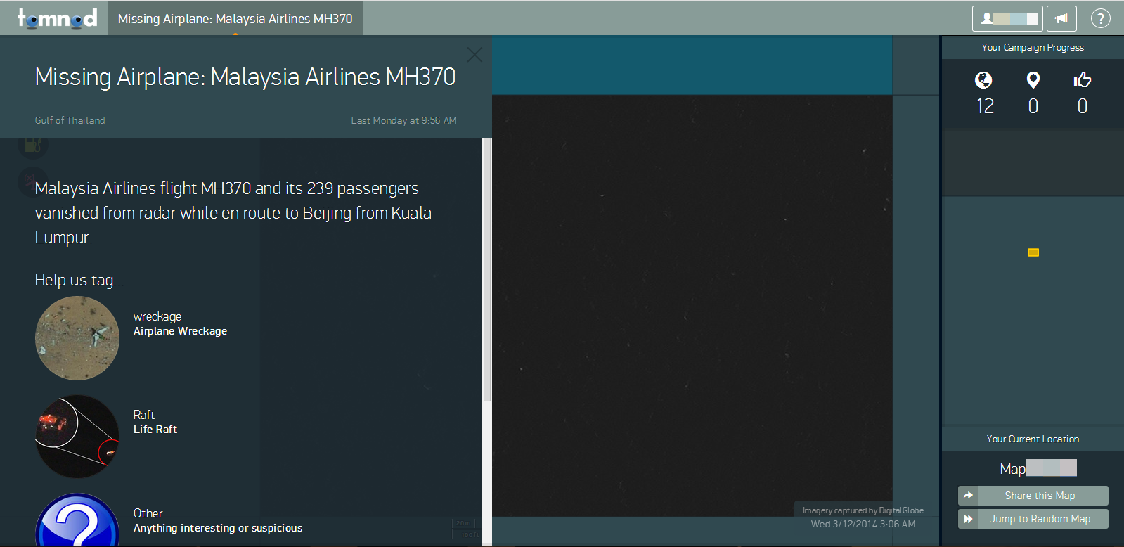 Screenshot of tomnod.com site